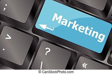 marketing, affari, chiavi, concept., vettore, chiave, tastiera, bottone, icona