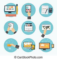 marketing, articoli, icons., ufficio, affari