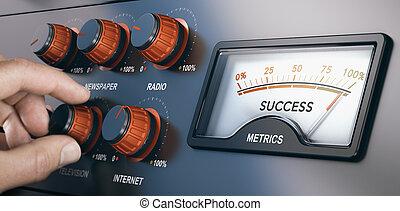 marketing, campagna, riuscito, media, multi-channel, massa