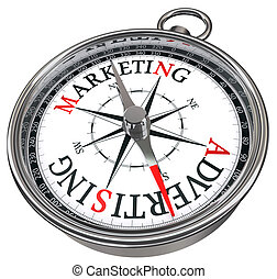 marketing, concetto, vs, pubblicità, bussola