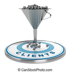 marketing, conversione, o, imbuto, vendite