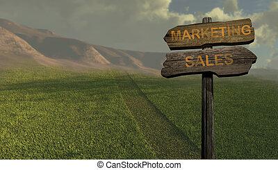 marketing, direzione, -, vendite, segno