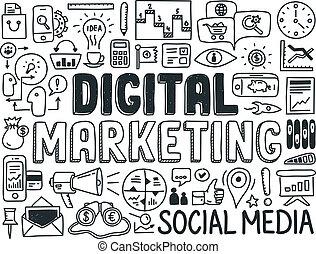 marketing, elementi, set, digitale, scarabocchiare