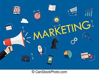 marketing, parola, titolo portafoglio mano, megafono, icone