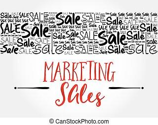 marketing, parola, vendite, nuvola