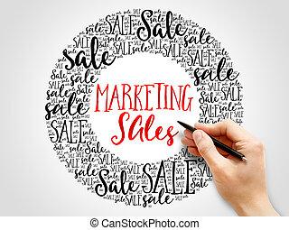 marketing, parole, vendite, nuvola