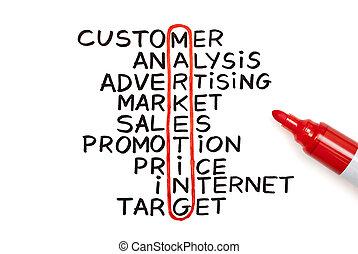 marketing, rosso, grafico, pennarello