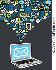marketing, schizzo, email, campagna, icona