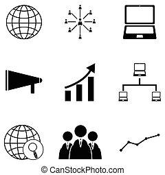 marketing, set, icona