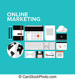 marketing, set, linea, appartamento, icone
