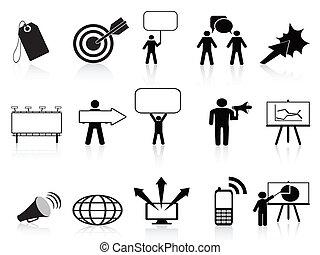 marketing, set, nero, icone