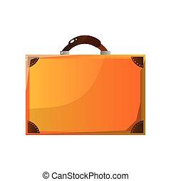 marrone, bagaglio, cuoio, illustrazione, vettore, retro, valigia, viaggiatore