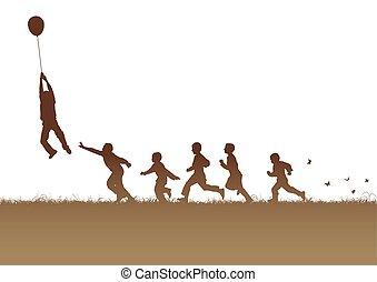 marrone, balloon, sopra, bambini