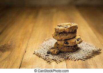 marrone, biscotti, colpo, scheggia, sacco, cioccolato, stoffa, cloth., wood.