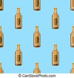 marrone, bottiglie, modello, seamless, vetro, birra