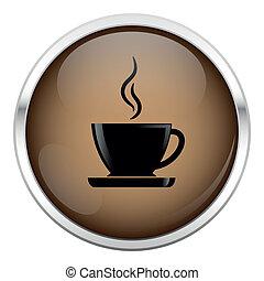 marrone, caffè, icon.
