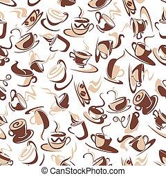 marrone, caffè, modello, seamless, fagioli, campanelle