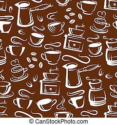 marrone, caffè, vaporizzazione, modello, seamless, campanelle