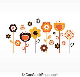 marrone, ), (, collezione, retro, primavera, fiori arancia