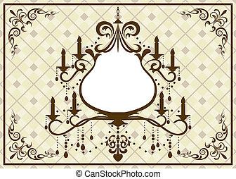 marrone, cornice, candeliere