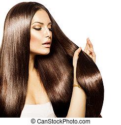 marrone, donna, bellezza, lei, sano, capelli lunghi, toccante