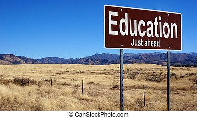 marrone, educazione, segno strada