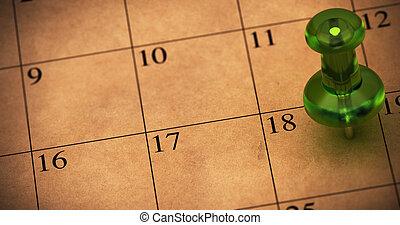 marrone, fatto, appuntamento, stanza, puntina da disegno, orario, testo, appuntito, 18., numero, paper., riciclato, calendario, verde, sinistra, su di, promemoria, thumbtack, lato