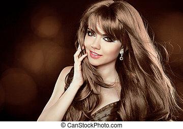 marrone, hairstyle., riccio, lungo, ragazza, attraente, hair., woman., sorridere felice