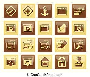marrone, icone, sopra, domanda, server, computer programma, fondo