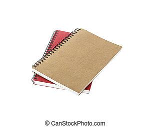 marrone, isolato, quaderno, nuovo, bianco rosso