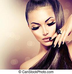 marrone, moda, bellezza, sano, capelli lunghi, modello, ragazza