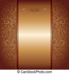 marrone, oro, damasco, modello, reale, invito, scheda