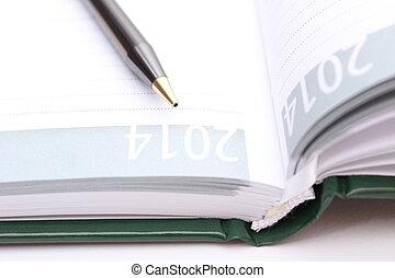 marrone, penna, aperto, organizzatore, dire bugie