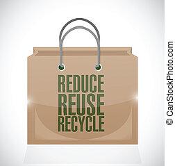 marrone, riutilizzare, ridurre, borsa, carta, riciclare