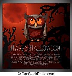 marrone, seduta, albero, halloween, illustrazione, bandiera, vettore, strisciante, grande, branch., gufo
