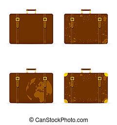 marrone, set, colorare, viaggiare, illustrazione, borsa, antico