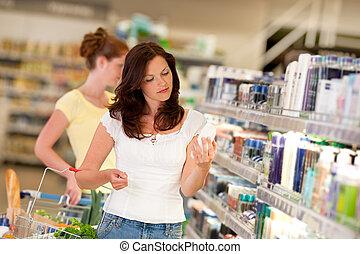 marrone, shopping donna, serie, -, capelli, ministero cosmetica