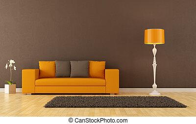 marrone, stanza, vivente