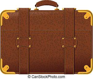 marrone, valigia