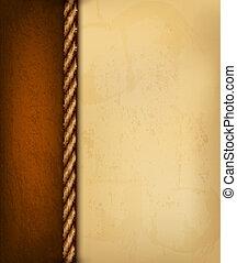 marrone, vecchio, illustration., vendemmia, leather., carta, vettore, fondo