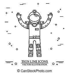 mars., astronauta, missione, space., umano