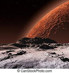 marte, phobos, superficie, luna, vista