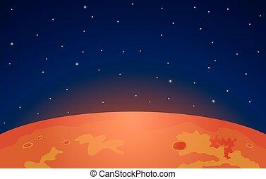 marte, pianeta, fondo, stelle