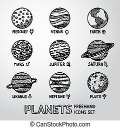marte, set, pianeta, nettuno, icone, astronomico, -, mano, simboli, mercurio, vettore, nomi, pluto., venere, disegnato, urano, saturno, giove, terra