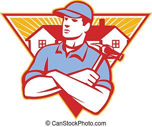 martello, fatto, triangolo, braccia, costruzione, attraversato, casa, lavoratore, fondo, set, dentro, costruttore, style., retro, illustrazione