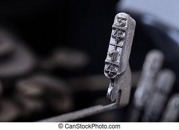 martello, -, freddo, macchina scrivere, filtro, 1/4, vecchio, blu, 3/4, manuale