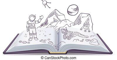 martian., libro, fantascienza, aperto