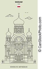 mary, cattedrale, magdalene, punto di riferimento, varsavia, icona, poland., st.