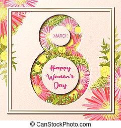 marzo, colorito, augurio, donne, floreale 8, giorno, scheda, felice