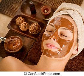 maschera, bellezza, cioccolato, spa., salone, facciale, terme